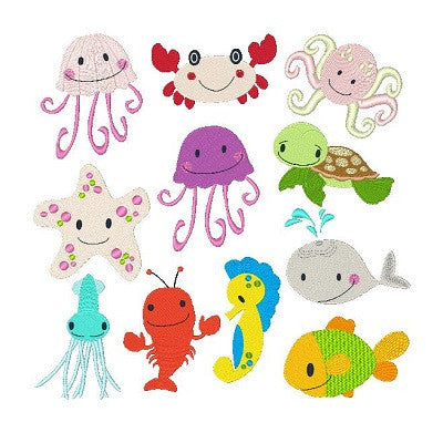 Sea Life Set of machine embroidery designs by sweetstitchdesign.com
