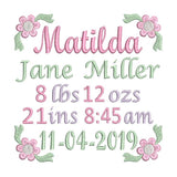 Baby birth template machine embroidery design by sweetstitchdesign.com