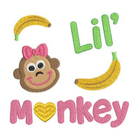 Little monkey fill stitch machine embroidery design by sweetstitchdesign.com