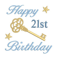 21st birthday machine embroidery design by sweetstitchdesign.com