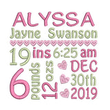 Baby Birth Announcement - Customised (S609-45)