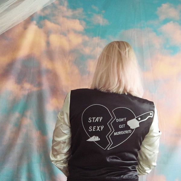 Satin jacket - Stay Sexy Don't Get Murdered - Black