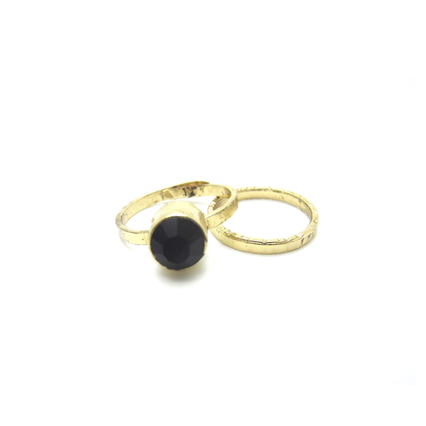 Set of Two Vintage Onyx Rings