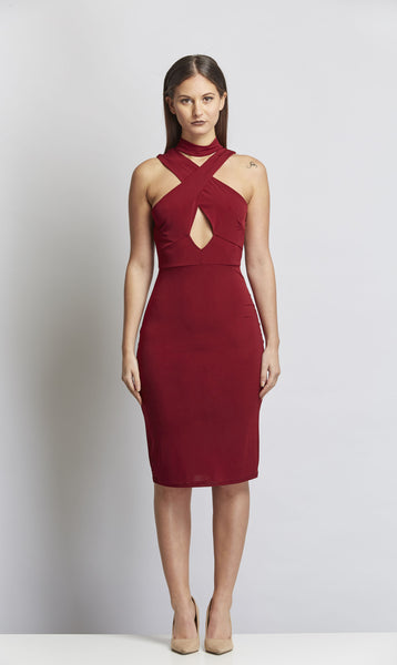 Burgundy bodycon dress Burgundy savage