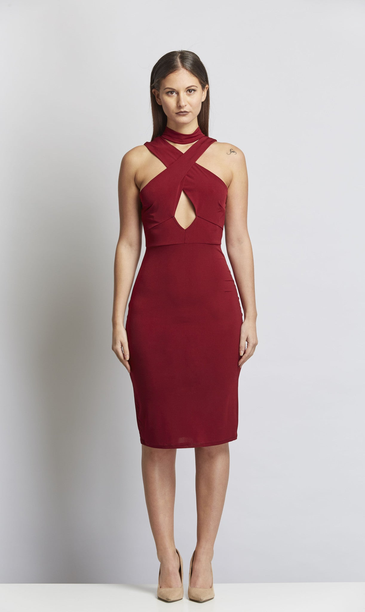 Burgundy Savage Dress - Black