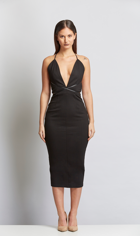 V neck Plunging neckline midi dress