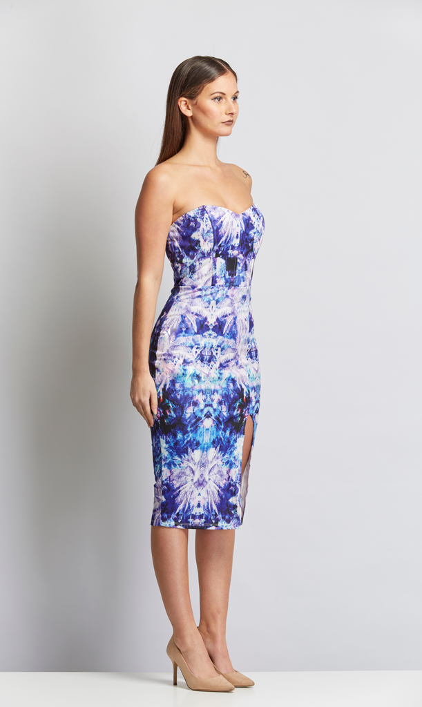 Bodycon Side Split Dress -  Blue