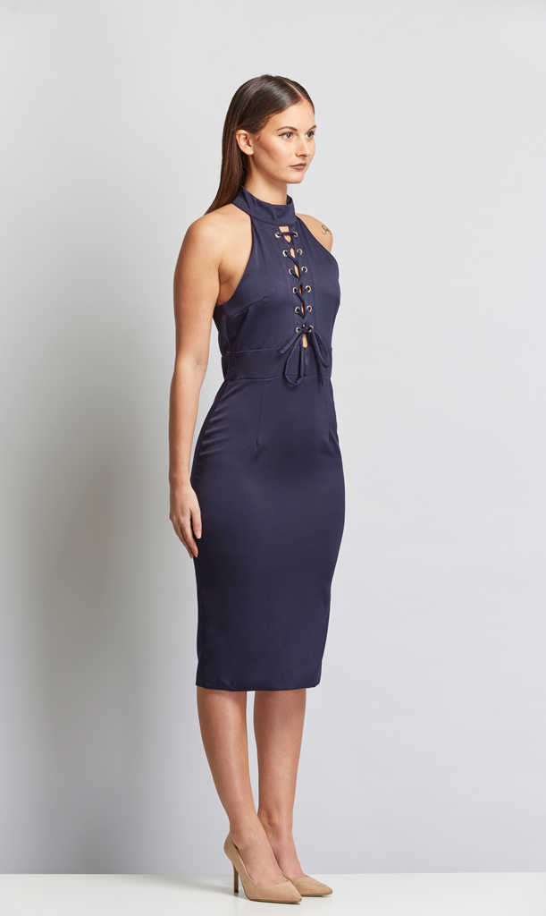 All Tied Up Dress - Navy Blue