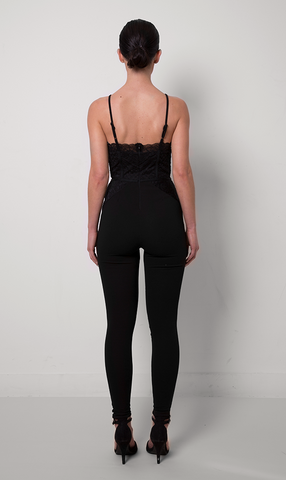 Abe Strappy Lace Jumpsuit - Black