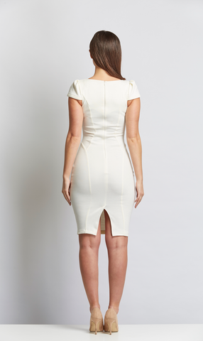 Cream Midi Sophie V Neck Dress