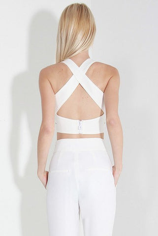 Tops - Cut Out Crop Top - White