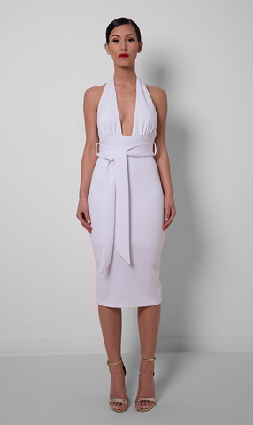 Adena Bold V Neck Halter Dress - White