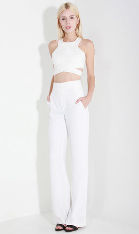 Cut Out Crop Top - White