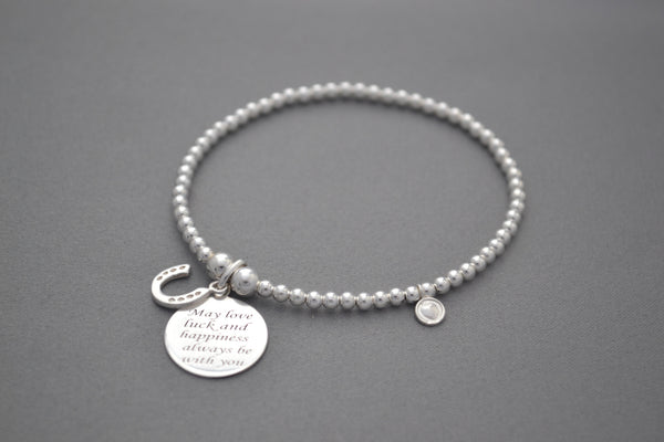 Sterling Silver small bead bracelet with wedding good luck charms
