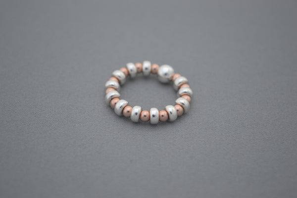 Rose Gold bead and Sterling Silver disc ring