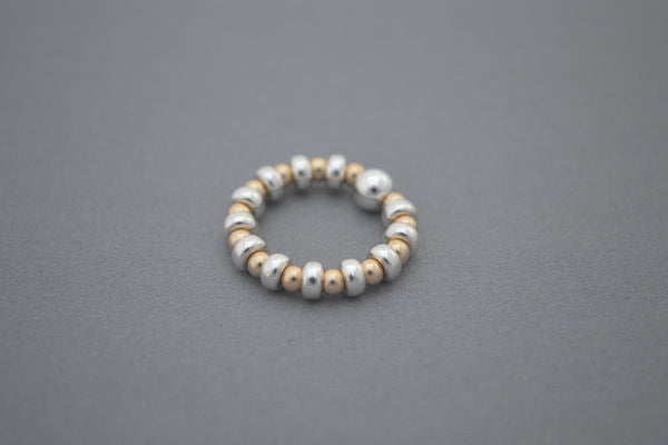 Gold bead and Sterling Silver disc ring