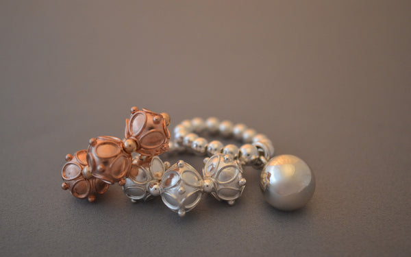 Rose Gold ornate bead ring with chunky Bali bead detail