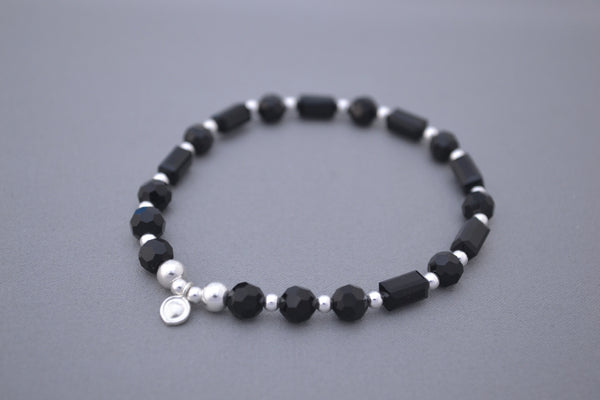 Black glass tube and Sterling Silver bead bracelet