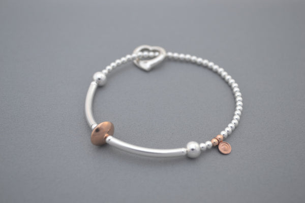 Sterling Silver noodle and Rose Gold bead bracelet with open heart charm