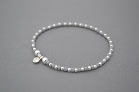 Light Grey glass seed and Sterling Silver mix bead bracelet