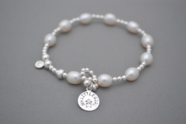 Baby bump count the kicks Freshwater Pearls and Sterling Silver bracelet - little girl