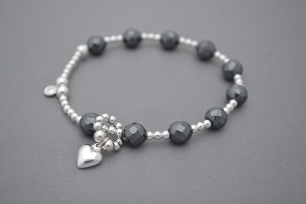 Baby bump count the kicks Hematite and Sterling Silver bracelet - puff heart charm