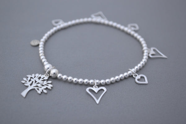 Sterling Silver 3mm bead bracelet with Tree of Life and multi heart charms