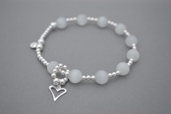 Baby bump count the kicks White and Sterling Silver bracelet - flat heart charm