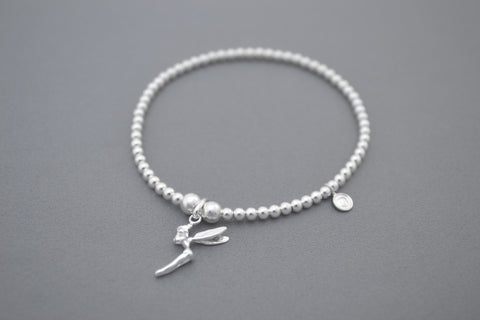 Sterling Silver bead bracelet with pretty Tinkerbell charm