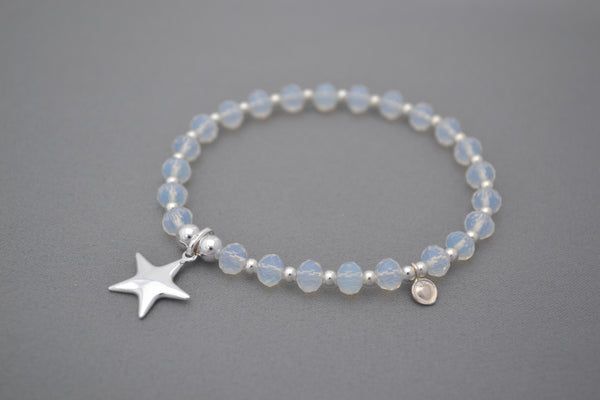 Moonstone bead bracelet with 925 Sterling silver puffed star charm