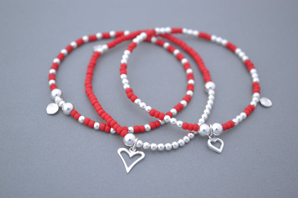 Red glass seed and Sterling Silver mix bead bracelet