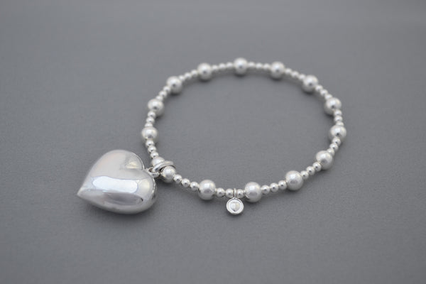 Sterling Silver small and medium bead bracelet with large puff heart charm