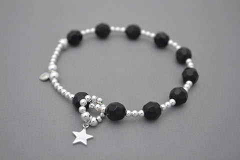 Baby bump count the kicks Black and Sterling Silver bracelet - star charm