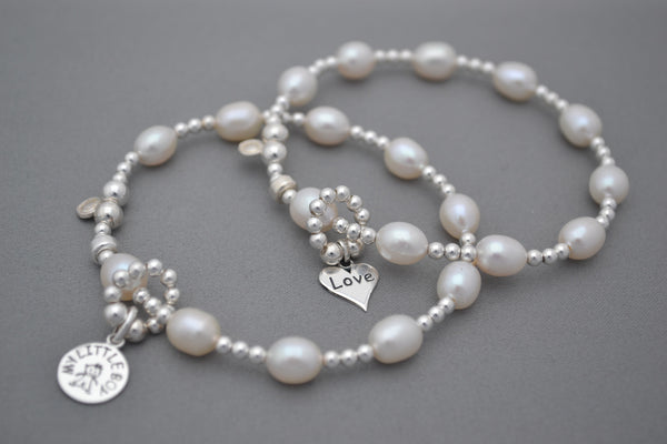 Baby bump count the kicks Freshwater Pearls and Sterling Silver bracelet - little boy