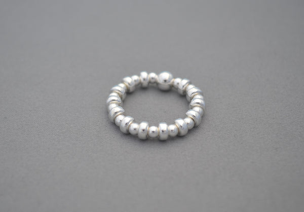 Sterling Silver bead and Sterling Silver disc ring