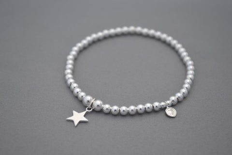 Sterling Silver 4mm bead bracelet with flat star charm