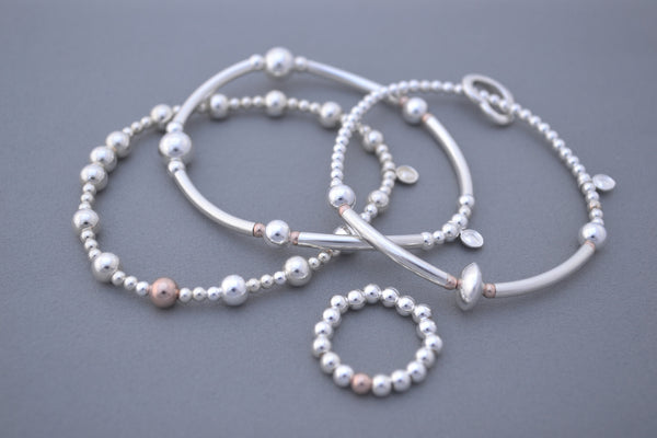 Limited Edition Rose Gold and Sterling Silver three bracelet stack with matching ring