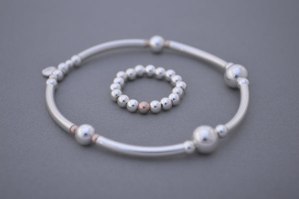 Sterling Silver and Rose Gold 4mm bead ring