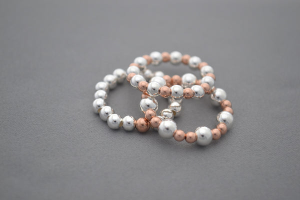 Sterling Silver 5mm and Rose Gold bead ring