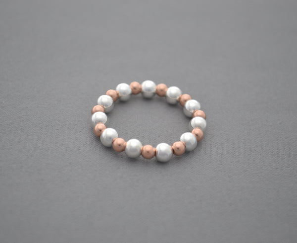 Rose Gold 4mm and Sterling Silver bead ring