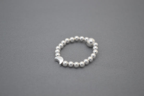 Sterling Silver small bead ring with Moon bead detail
