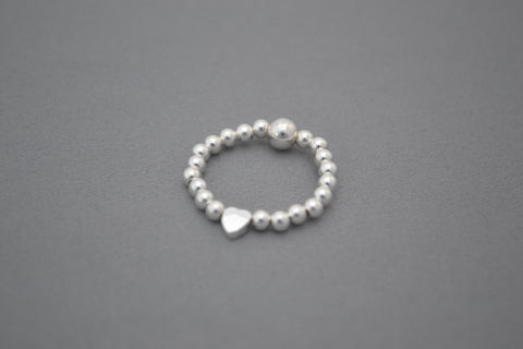 Sterling Silver small bead ring with Heart bead detail