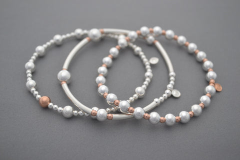 Limited Rose Gold bead and Sterling Silver noodle three bracelet stack