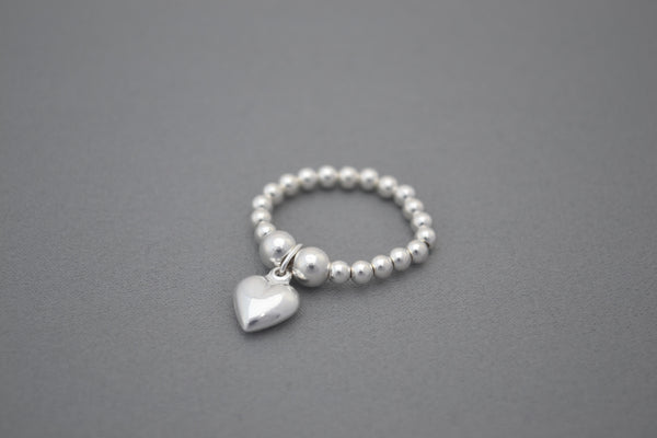 Sterling Silver bead ring with Sterling Silver puff heart charm