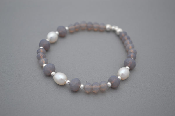Sterling Silver and Grey glass bead bracelet with Freshwater pearls