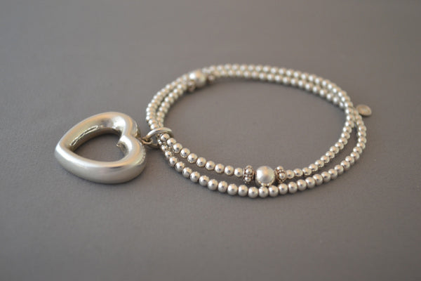 Sterling Silver double bead bracelet with large open heart charm