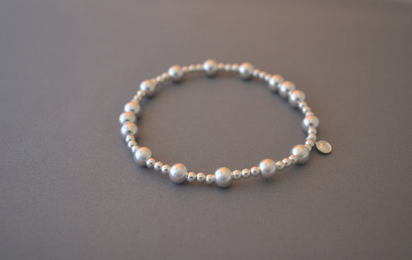 Sterling Silver small and medium three large bead bracelet