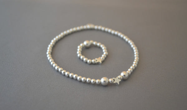 Sterling silver ball bead bracelet with tiny star charm / ring