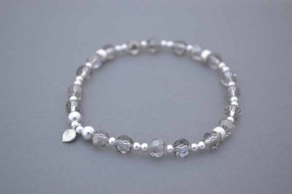 Light Grey glass and Sterling Silver mix bead bracelet