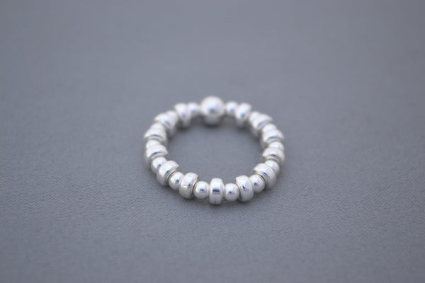 Sterling Silver disc and Sterling Silver bead ring